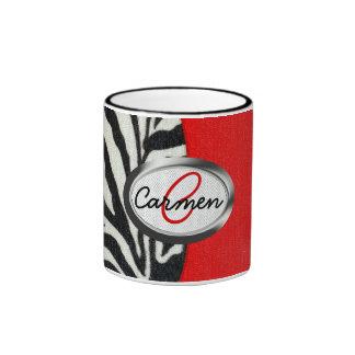 Copie à la mode de zèbre et monogramme rouge au mug ringer
