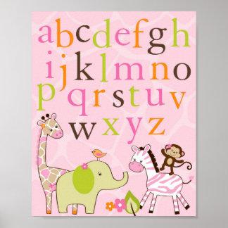 Copie animale d'art de mur de crèche d'alphabet de poster