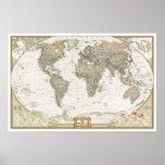Copie antique d'affiche de carte du monde