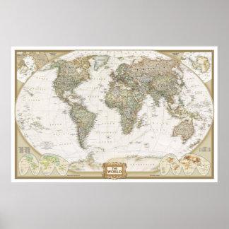 Copie antique d'affiche de carte du monde posters