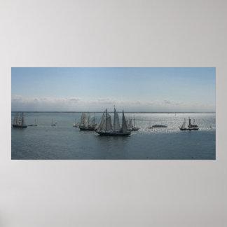 Copie antique d'affiche de photo de bateaux à voil affiches