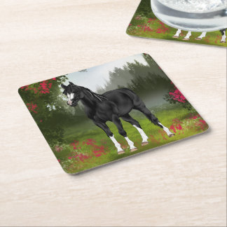 Copie Arabe noire de cheval Dessous-de-verre Carré En Papier