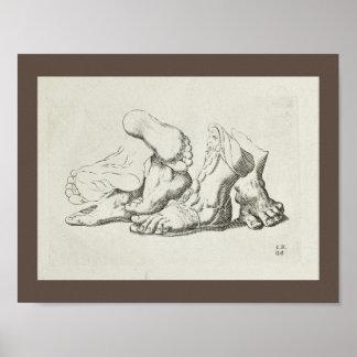 Copie artistique d'art de pied de l'anatomie 1747 poster