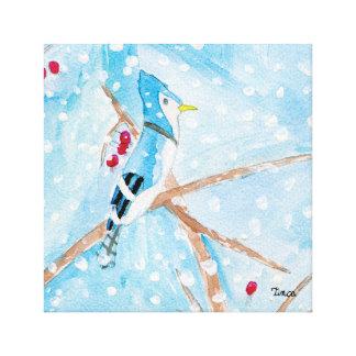 Copie bleue d'art de mur de toile d'oiseau toiles