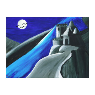 Copie bleue de toile de château de vampire de