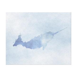 "Copie bleue de toile de Narwhal (20"" x16"")"