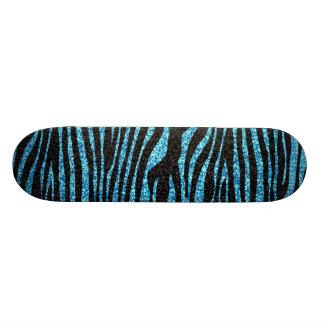 Copie bleue de zèbre (scintillement de faux bling) plateaux de skateboards