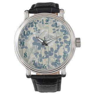 Copie bleue florale de fleurs d'art asiatique montres bracelet