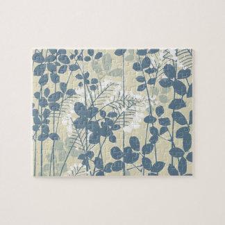 Copie bleue florale de fleurs d'art asiatique puzzle