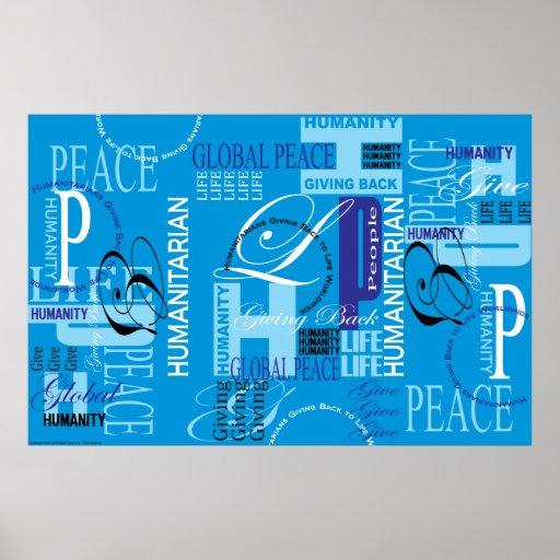 Copie bleue humanitaire de graffiti posters