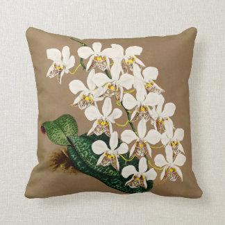 Copie botanique d'orchidées blanches, arrière - coussin décoratif