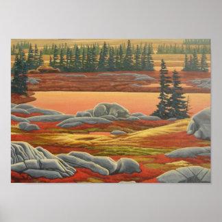 Copie canadienne d'art d'ours de peinture de paysa affiche