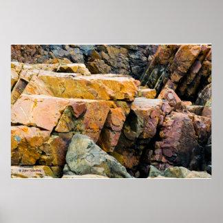 Copie colorée de roches d'océan affiche