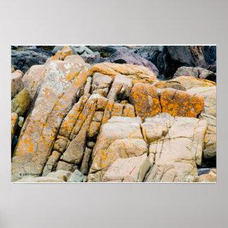 Copie colorée de roches d'océan poster