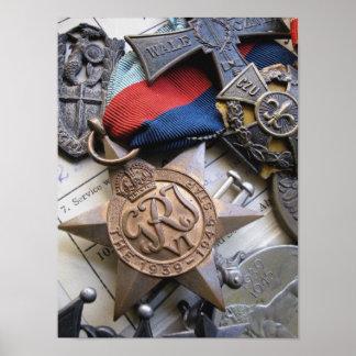 Copie d étoile de service de guerre de 2ÈME GUERRE Affiche