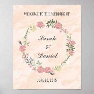 Copie d'affiche d'accueil de guirlande de roses posters