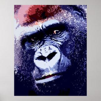 Copie d'affiche d'art de bruit de visage de gorill