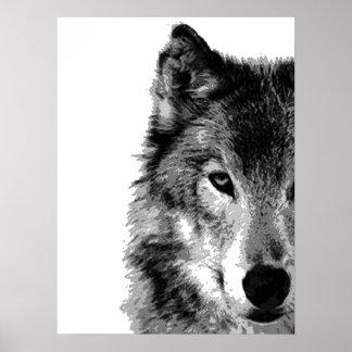 Copie d'affiche d'illustration d'oeil de loup gris