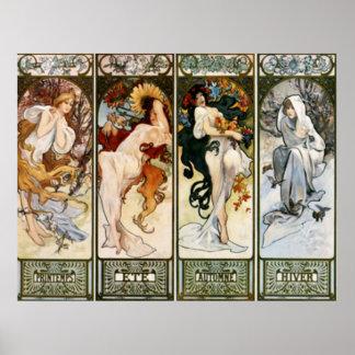 Copie d'Alphonse Mucha de 4 saisons Posters