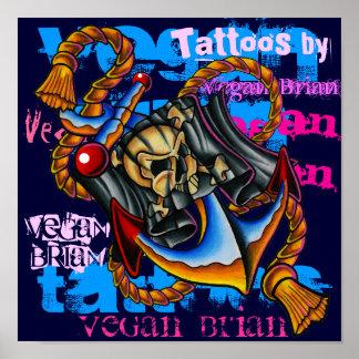 Copie d'ancre de pirate par Brian végétalien Poster