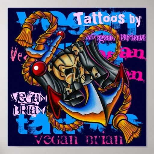 Copie d'ancre de pirate par Brian végétalien Affiche