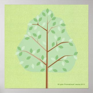 Copie d'arbre à feuilles caduques posters