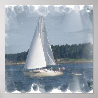 Copie de bulles de bateau à voile poster