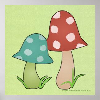 Copie de champignons de région boisée affiche