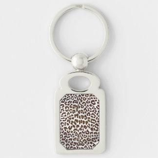 Copie de chocolat de léopard porte-clé rectangulaire argenté