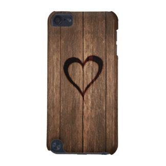 Copie de coeur brûlée par bois rustique coque iPod touch 5G