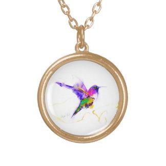 """Copie de colibri """"de rayonnement pourpre"""" pendentif rond"""