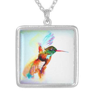 """Copie de colibri """"de vol crépusculaire"""" dessus pendentif carré"""