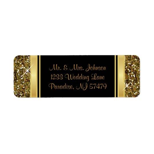 Copie de confettis de scintillement d'or étiquettes d'adresse retour