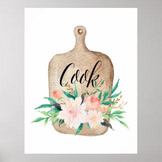 Copie de cuisine - cuisinier - aquarelle florale posters