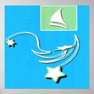 Copie de dauphin de bateau à voile affiche