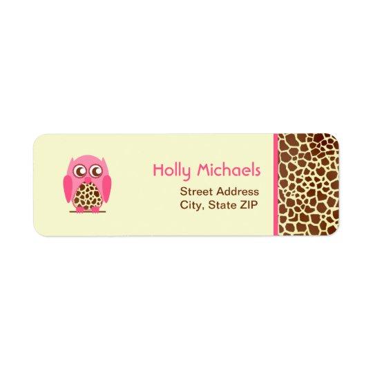 Copie de girafe et étiquettes de adresse roses de