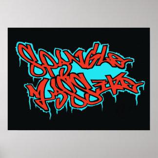 Copie de GRAFFITI affiche rouges/bleues de LOGO de Posters
