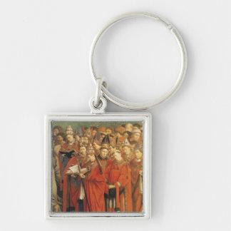 Copie de l'adoration de l'agneau mystique porte-clé carré argenté