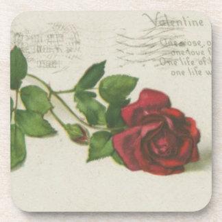 Copie de lettre de timbre de rose de cru dessous-de-verre