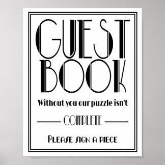 """Copie de noce de """"puzzle de livre d'invité"""" d'art poster"""