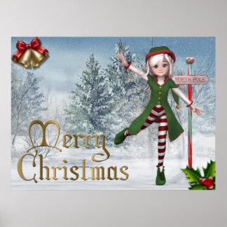 Copie de Sadie Elf de Joyeux Noël Affiche