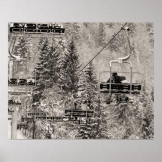 Copie de ski de ton de sépia, au-dessus des arbres poster