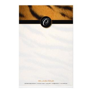 copie de tigre ; monogramme papiers à lettres