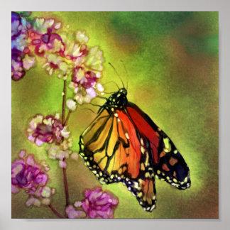 Copie de toile de papillon de monarque d'aquarelle affiches