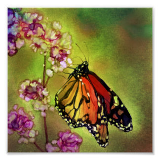 Copie de toile de papillon de monarque d'aquarelle posters