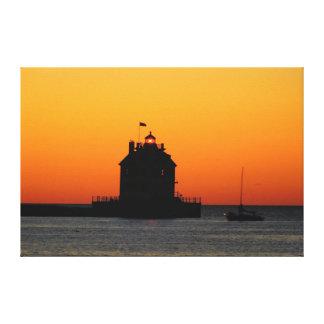 Copie de toile de phare de coucher du soleil d'or