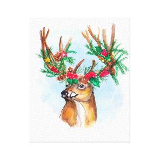Copie de toile de renne de Noël d'aquarelle