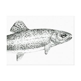 Copie de toile étirée par dessin de truite toiles