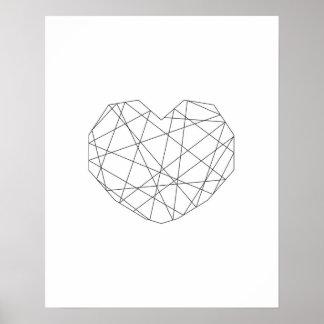 Copie de Valentine. Art noir et blanc de mur de Poster