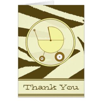 Copie de zèbre de Brown/Merci jaune de voiture Cartes